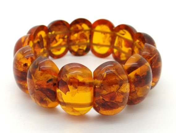 Genuine Baltic Amber Bracelet 39 Grams - Cognac Color Amber Beads - Stretch Amber Bead Bracelet, Vintage Jewelry, Large Amber Stones Bracelet at VintageArtAndCraft