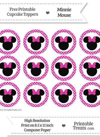 Free Hot Pink Polka Dot Minnie Mouse Cupcake Toppers Minnie Mouse Printables Free Minnie Mouse Cupcake Toppers Minnie Mouse Party