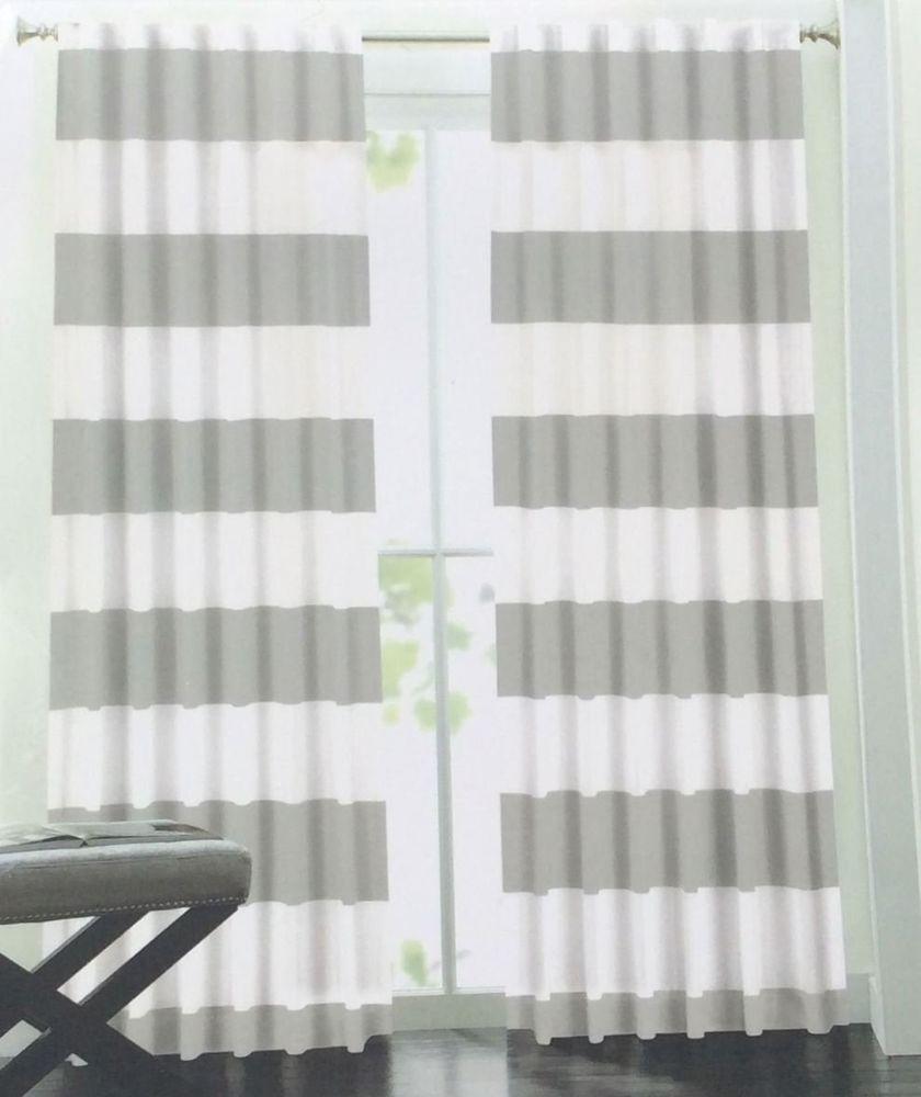 Hillcrest Gray Wide Stripe Window Curtain Cotton Drapes Hidden Tab