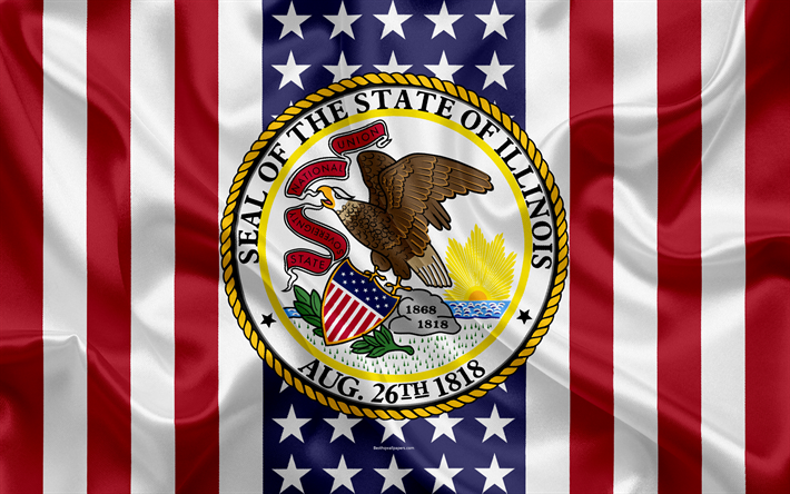 Download Wallpapers Illinois Usa 4k American State Seal Of Illinois Silk Texture Us States Emblem States Seal American Flag Flag I Love America U S States