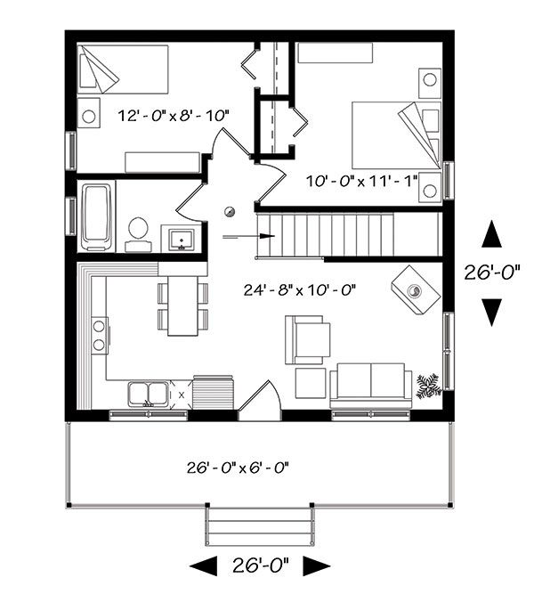 Two Bedroom Lake House Plan Drummond House Plans House Plans Cabin Floor Plans