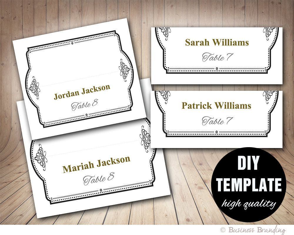 Elegant Wedding Placecard Template Foldover, DIY Black Gold Place ...