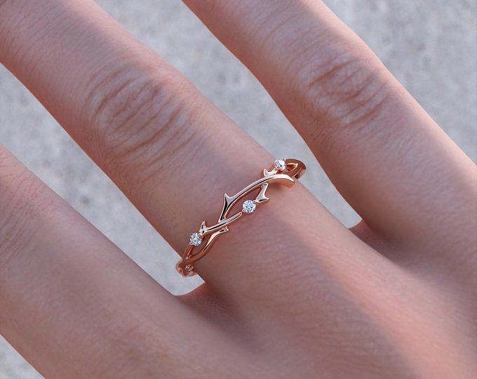 Photo of Rose Gold Four Stone Band – dainty rose gold ring / minimal ring / thin band rin…