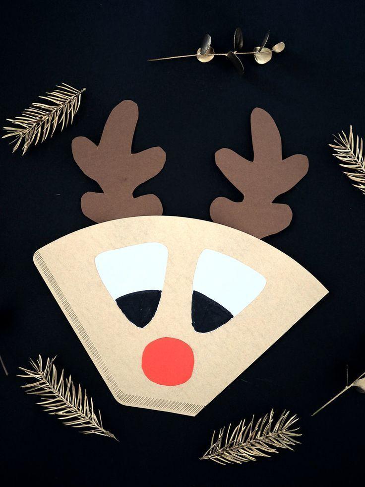 Coffee filter reindeer, filter reindeer from filter bag#bag #coffee #filter #reindeer