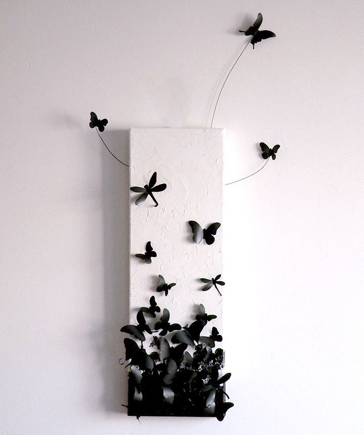 decorations murales tableau envol de papillons en 3d