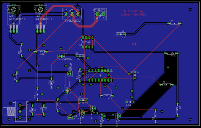 PCB design of SG3525 inverter circuit | Circuit projects