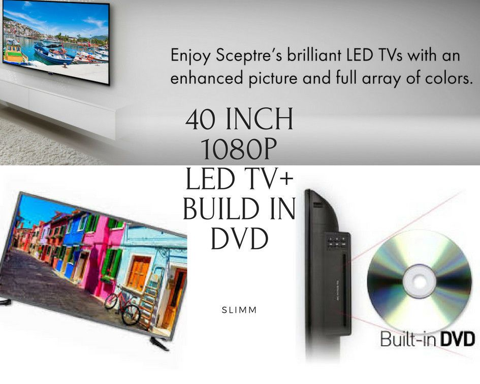 40 Inch 1080p Led Tvbuild In Dvd Player Slim Tv Dvd Combo Clear Qam