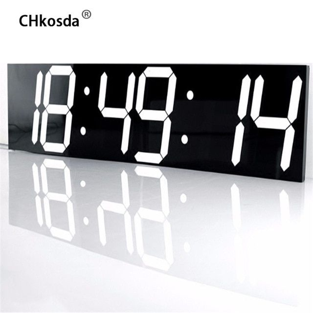 CHkosda LED Wall Clock Large Home Decor Moment Timer Weather Station Digital  Watch Table New Year Decoration Horloge Mural Klok Review