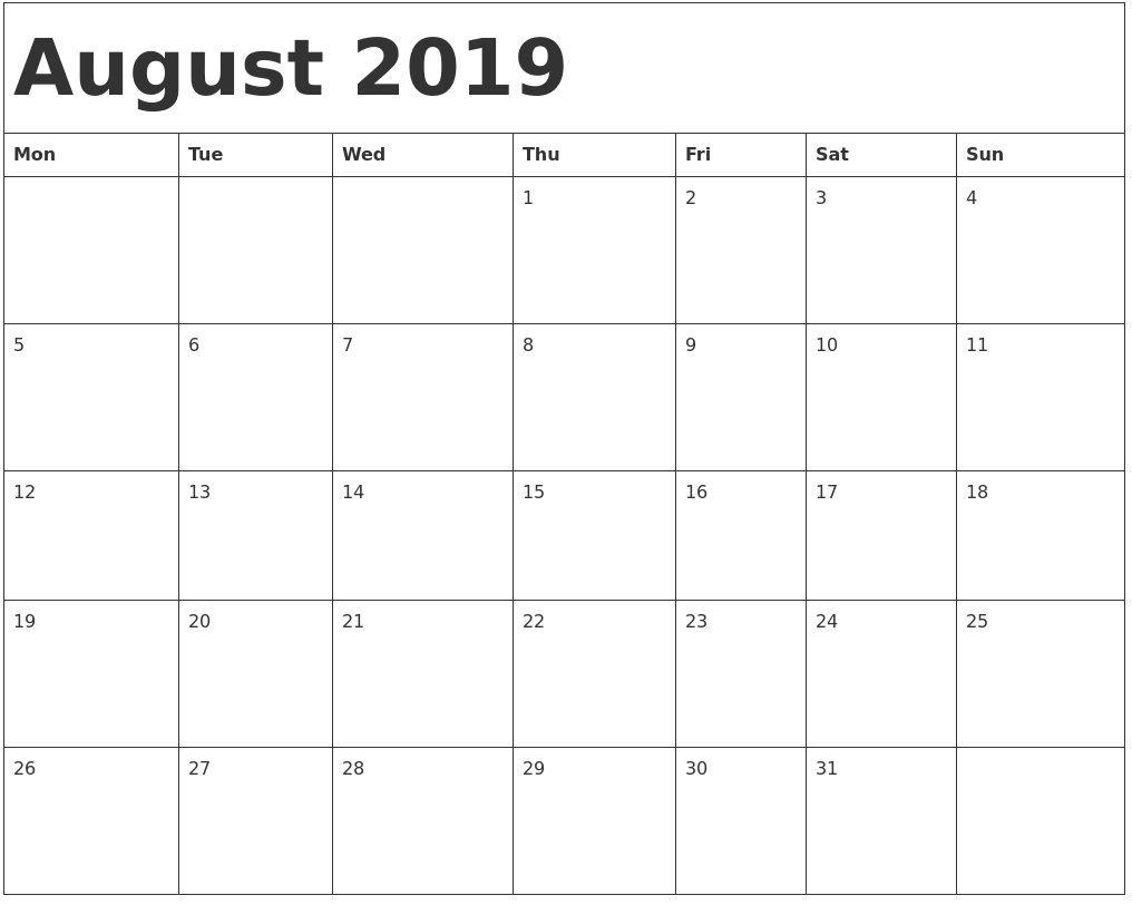 August 2019 Calendar 2019 Calendar Calendar