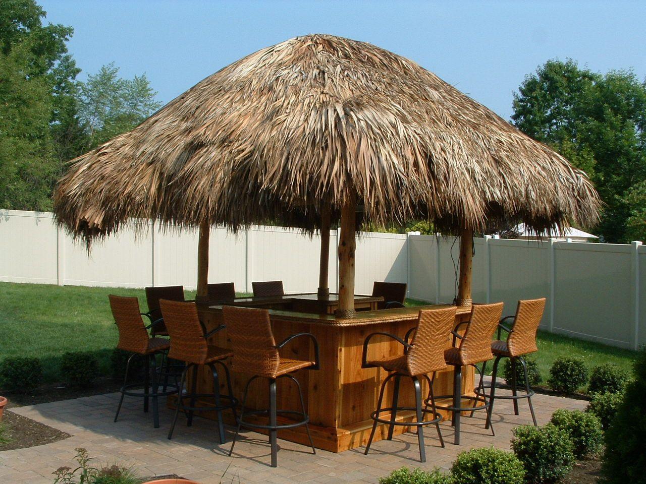 Jackson, NJ - 8x8 Custom Red Cedar Tiki Bar, 12x12 thatched roof ...