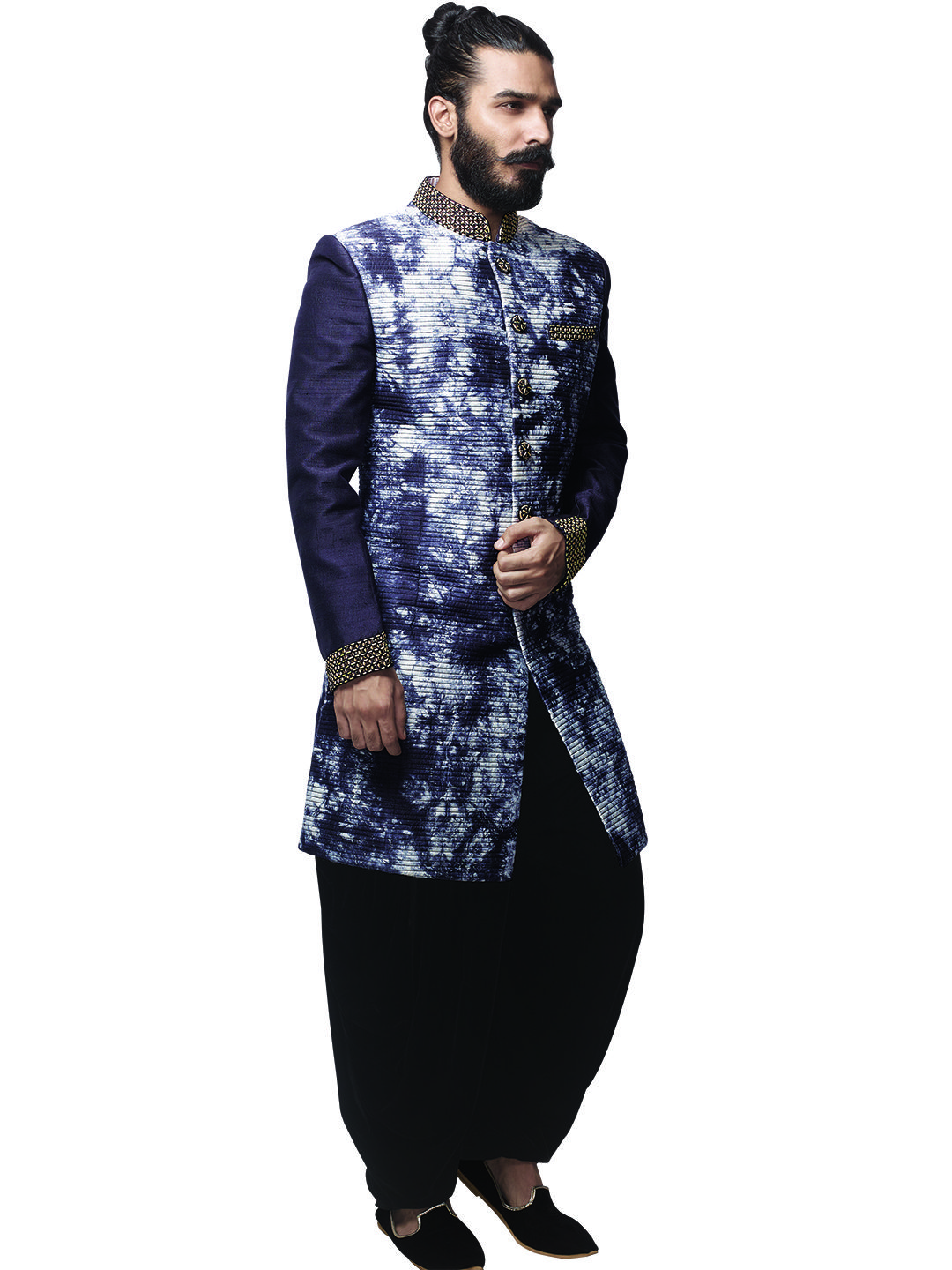 89a9f6a92f G3 Exclusive Navy Raw Silk Printed Party Men Indo Western | sherwani ...