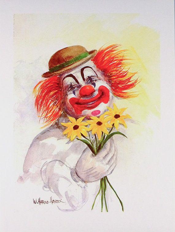 Clown Art Clowns Clown Print Clown Poster Smiling Clown Etsy In 2020 Vintage Clown Circus Art Clown Paintings