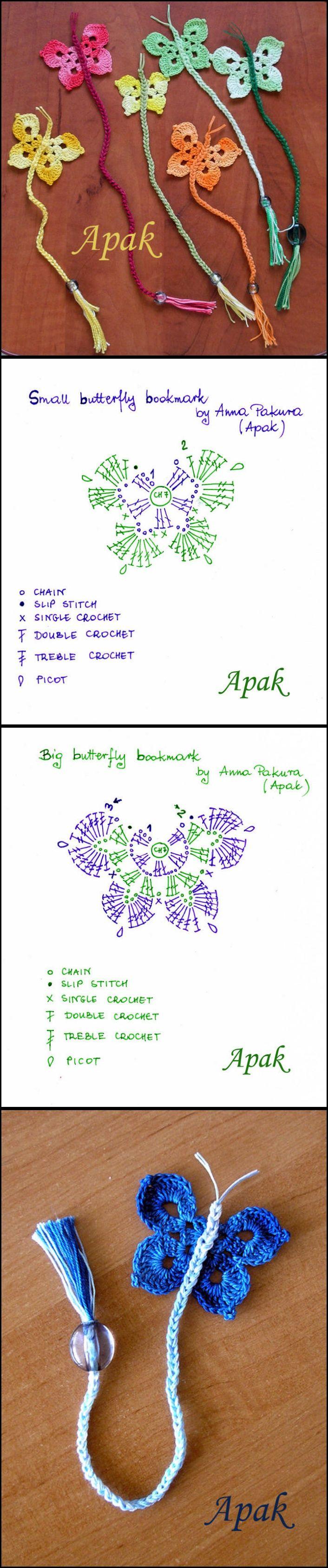 Crochet Butterfly Bookmark With FREE Pattern   PATTERNS   Pinterest ...