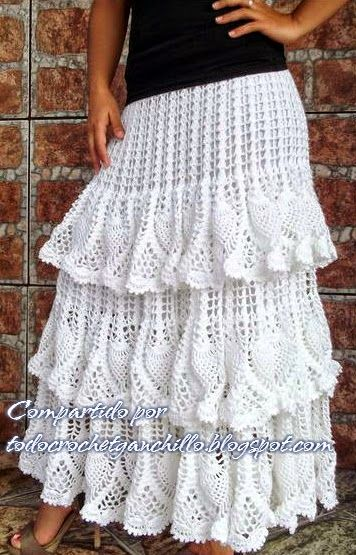 0edf8de05 Todo crochet: Falda blanca con volados | FALDAS | Vestidos de ...
