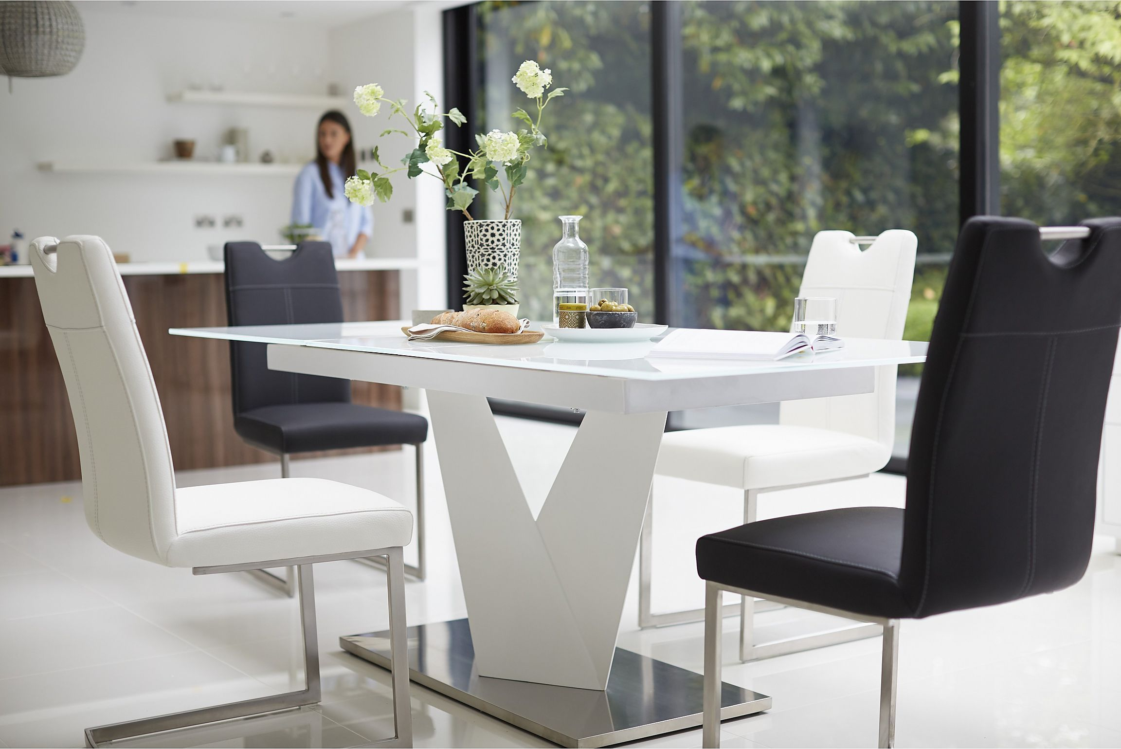 Extending Ultra Modern Dining Table From Habufa Sits Up To 8 Glass