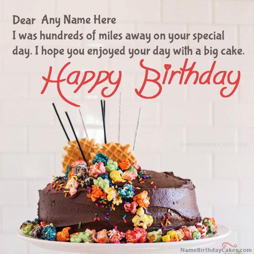 Belated Happy Birthday Cake With Name Editor Greenstarcandy