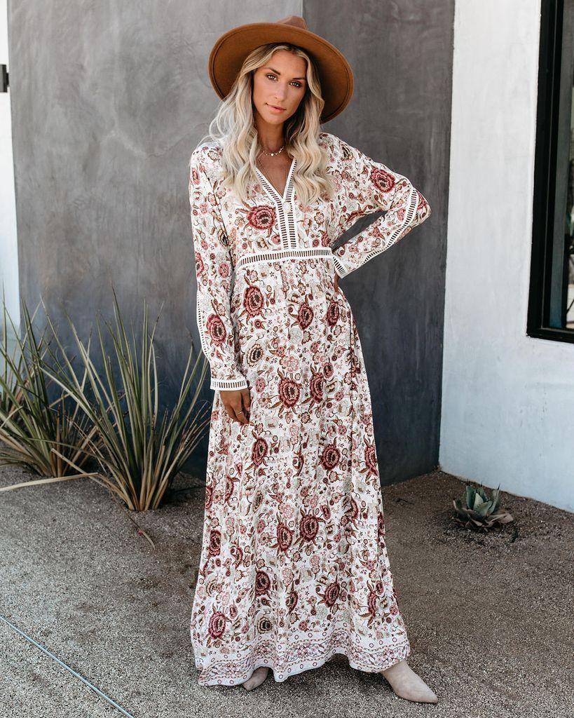 Nicole Long Sleeve Floral Maxi Dress Maxi Dresses Fall Maxi Dress [ 1024 x 819 Pixel ]