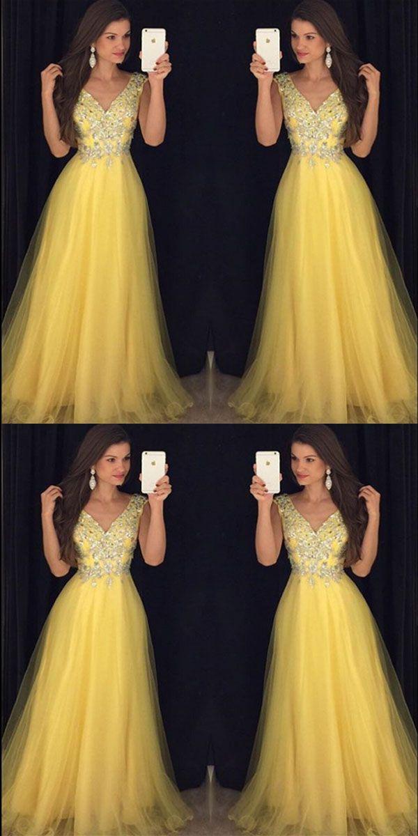 2018 Pretty Beading V Neck Long Yellow Prom Dresses Formal Evening Gowns Evening Party Dresses Pdy0291 Vestidos Vestidos Glamourosos 15 Vestidos