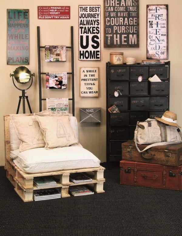 Wohnideen Palettenmöbel zrób to sam fotel z palet pinhouse inspiracje wnętrza domy