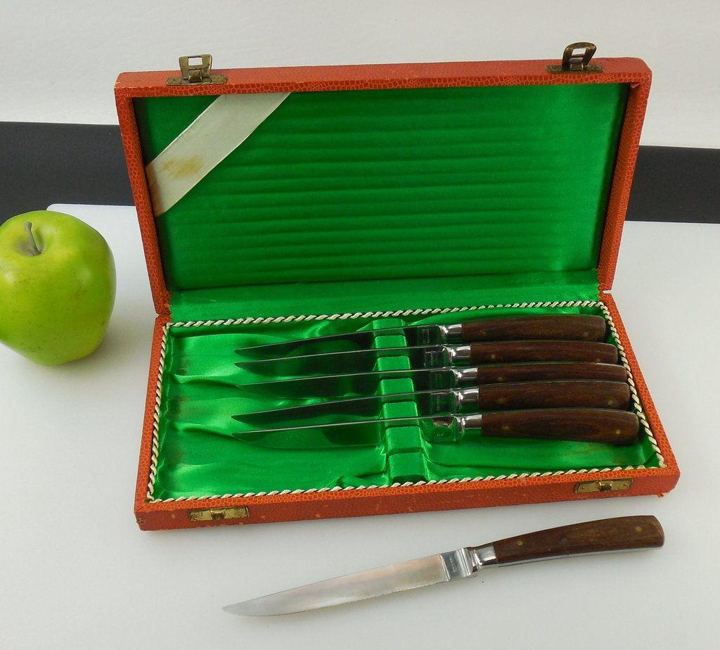 solingen germany steak knife 6 set boxed stainless wood handles