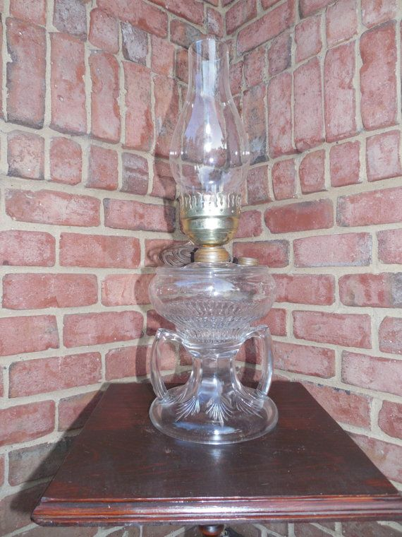 Oil Lamp Antique American Eapg A Rare Double Handled Urn Shape Gl Early