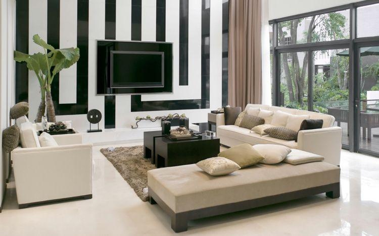 Schwarz weiß und grün passt super zusammen, Cremefarbene Wohnzimmer - wohnzimmer schwarz wei