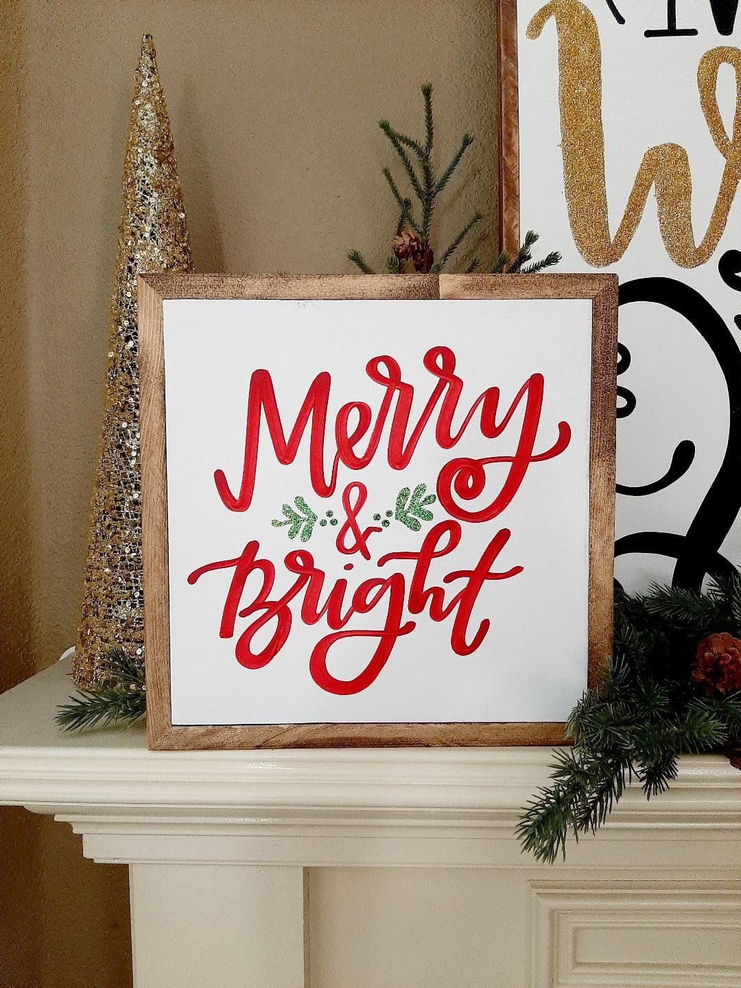 Merry Bright Wood Sign Wooden Signs Christmas Signs Christmas Wall Art Signs Glitter Holiday Decor Merry And Bright Framed Sign Christmas Wall Art Christmas Signs Wooden Signs