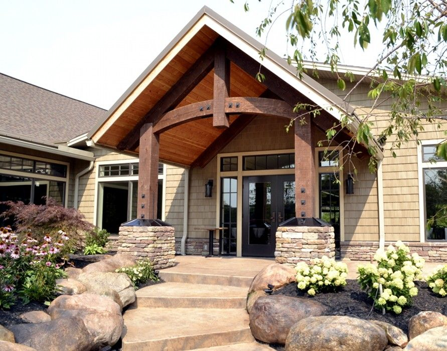 Timber Frame Porch (9) | Timber frame porch. Exterior house remodel. Porch styles