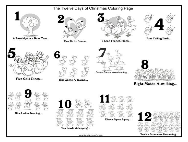 Image for 12 Days Of Christmas Coloring Pictures | Christmas crafts ...