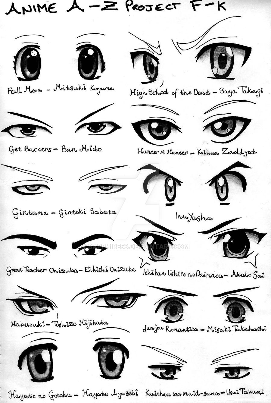 Anime A Z Project F K By Sapphire56 Anime Eye Drawing How To Draw Anime Eyes Manga Eyes