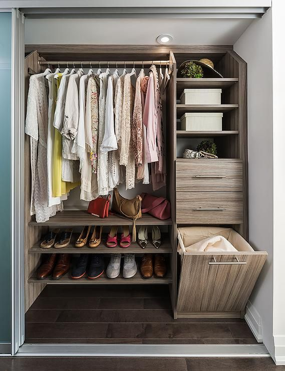 Condo Closet With Stacked Floating Shoe Shelves Transitional Closet Small Closet Space Small Closet Storage Small Closet Remodel