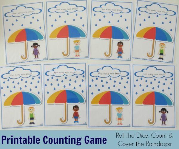 Printable Counting Raindrops Game and Play Dough Mats | Counting ...