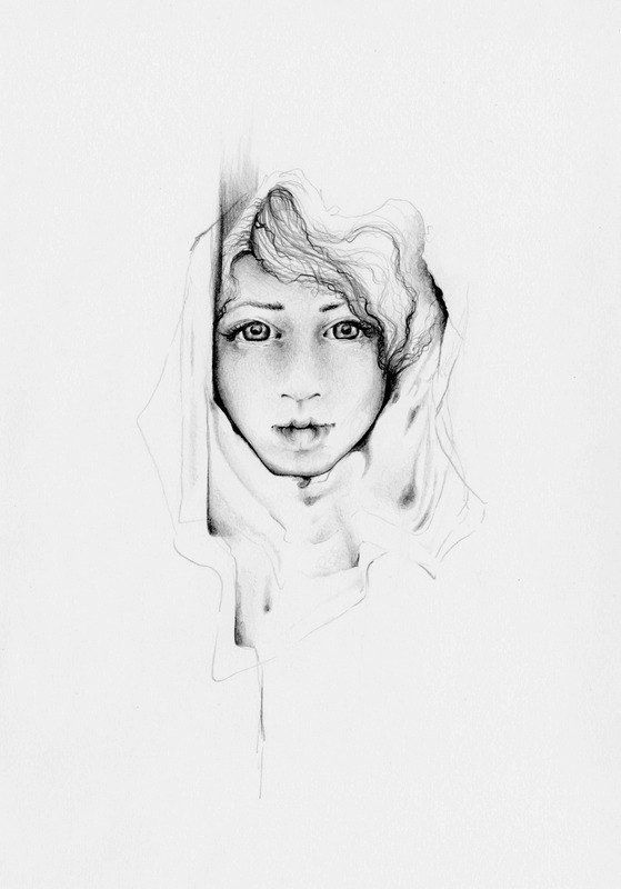 Modern art original pencil drawing one of a kind fine art hand draw modern illustration of a girl womens face original modern home decor