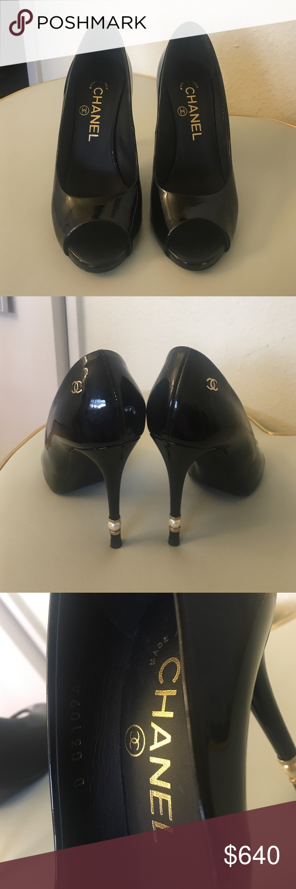 Peep toe black Chanel pump shoes with pearls 100% authentic, gorgeous patent leather Chanel pumps with pearls , wore only twice, comes with its original box, dust bag and the receipt of purchase. Signs of a little wear underneath as attached in the picture. Run half a size big. Fits size 6. ⚡️NO TRADE IN ⚡️ CHANEL Shoes Heels