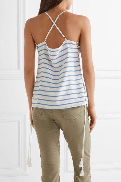 Cami NYC - Gemma Lace-up Striped Silk Crepe De Chine Camisole - Azure