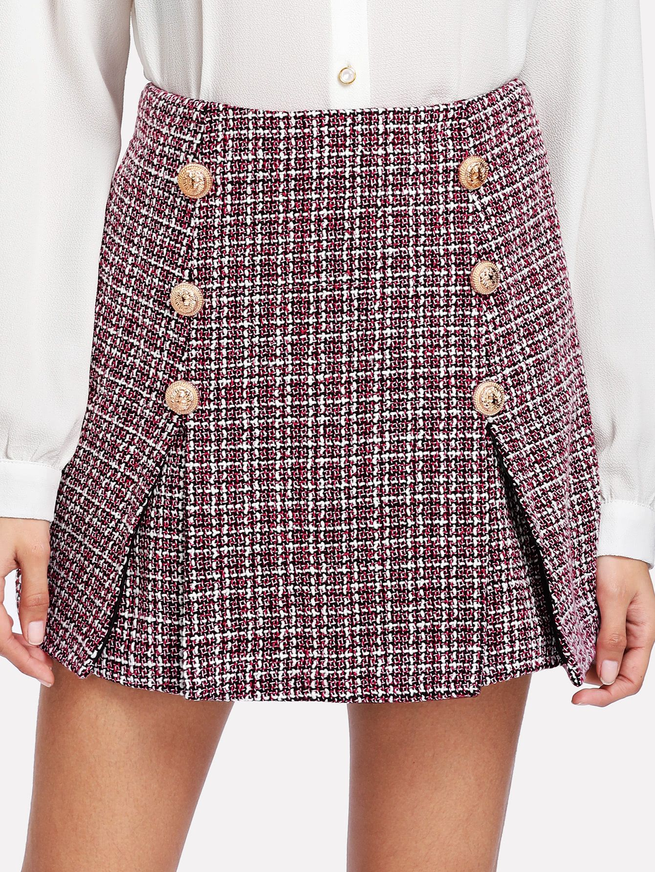 cd05028b65 Shop Double Button Tweed Skirt online. SheIn offers Double Button Tweed  Skirt & more to fit your fashionable needs.