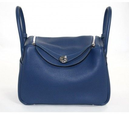 5027e444ea Hermes Blue Sapphire Clemence Leather 30cm Lindy Shopper Bag with Blue  Izmir Interior
