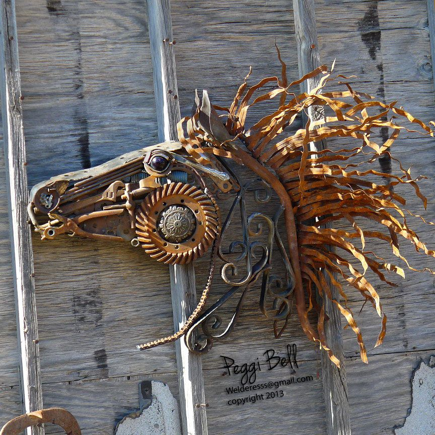 Wildfire Welded Metal Horse Sculpture Made Out Of Reclaimed Recycled Upcycled Metal Welded Art Scrap Metal Art Metal Horse Sculptures Metal Art Sculpture