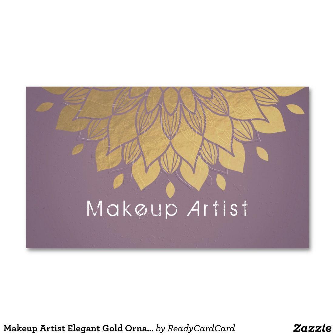 Makeup Artist Elegant Gold Ornate Flower Business Appointment Card ...