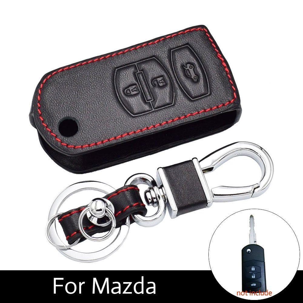 Atobabi 3 Buttons Genuine Leather Flip Key Cover Case Keychain