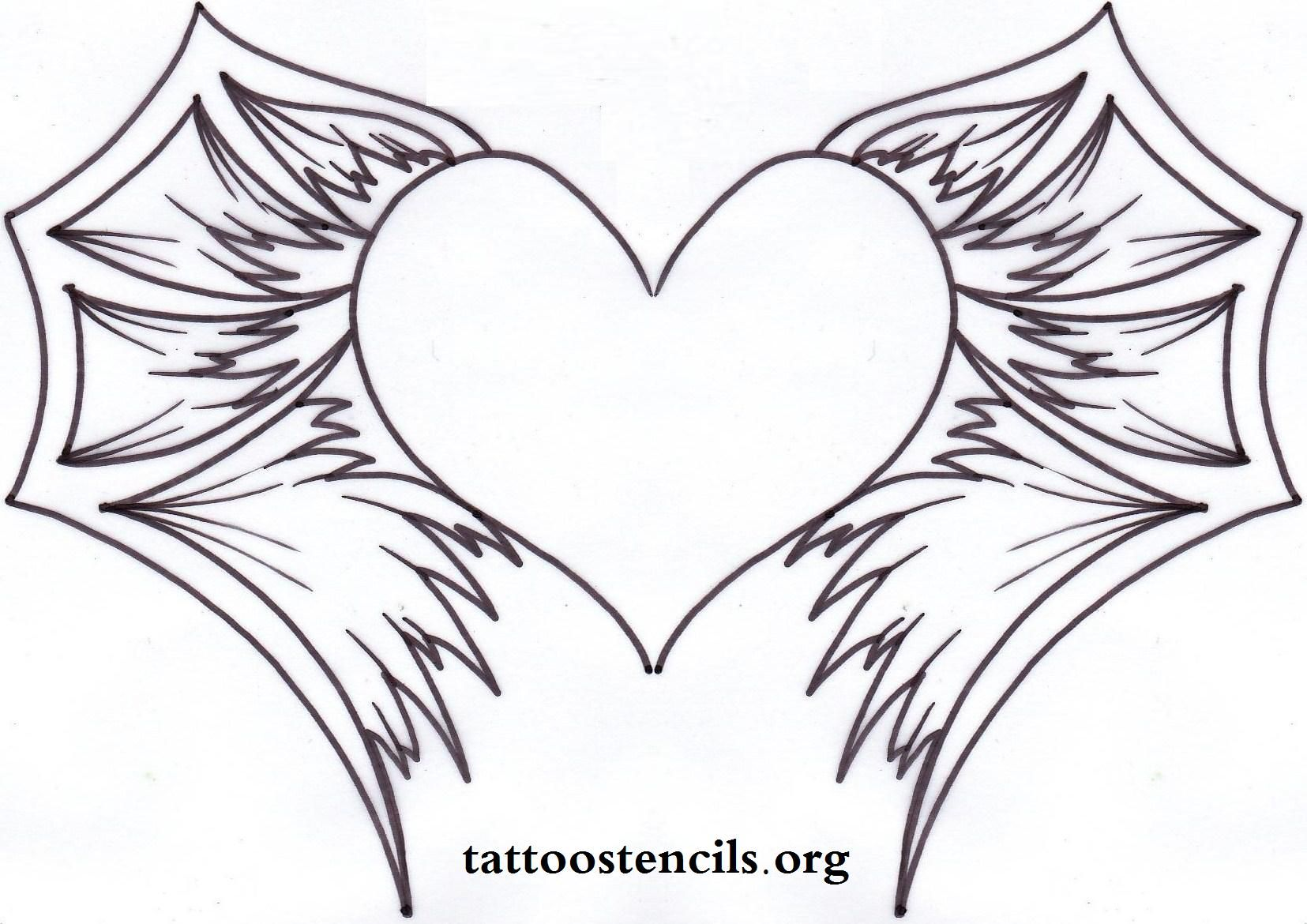 image gallery heart with wings stencil