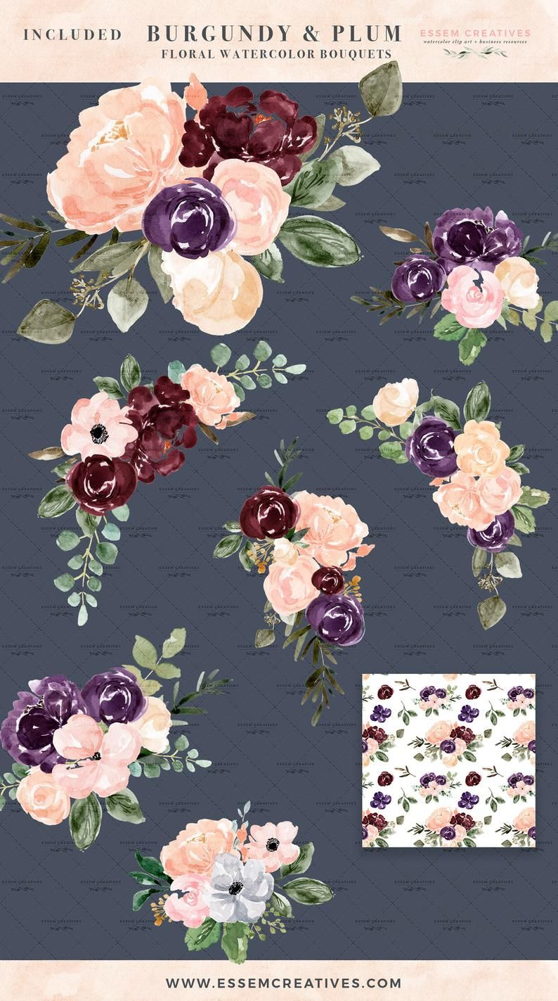 Burgundy Blush Watercolor Floral Clipart Plum Watercolor Flowers