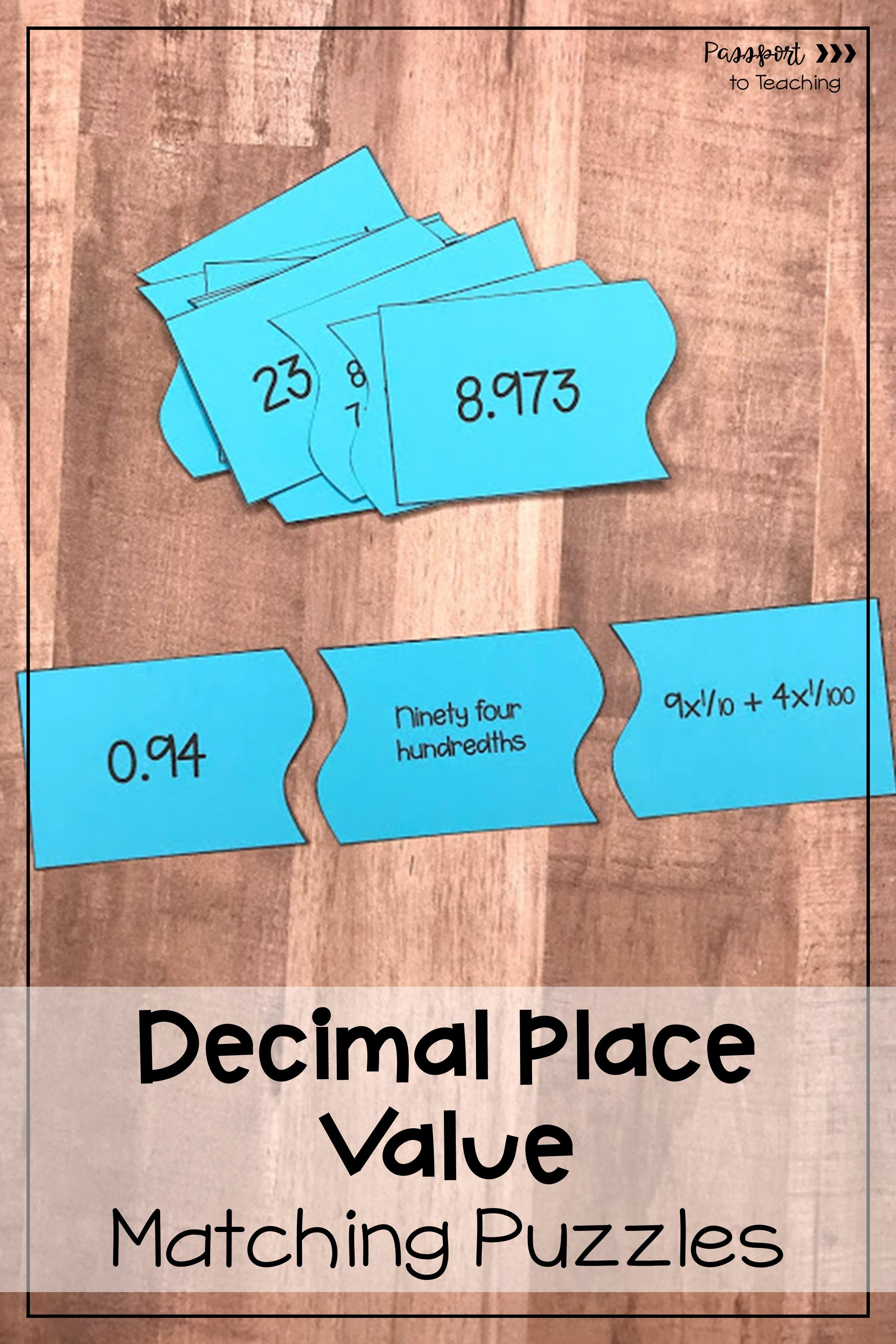 Decimal Place Value Matching Puzzles