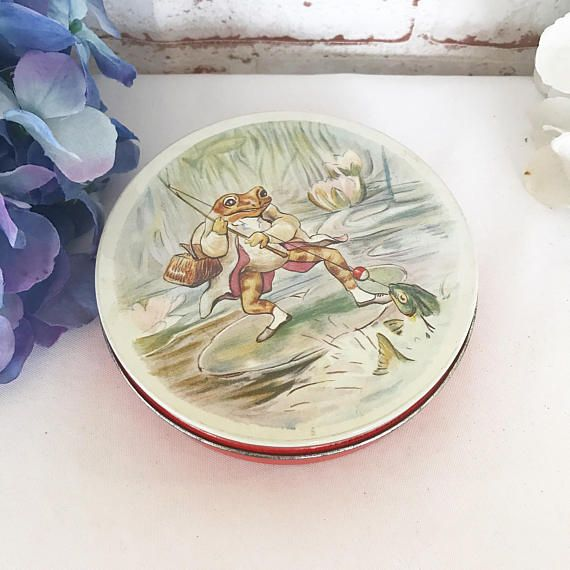 Sweet Mid Century Jeremy Fisher Frog Decorative Tin Litho Box Huntley  Palmer Nursery Decor Beatrix Potter