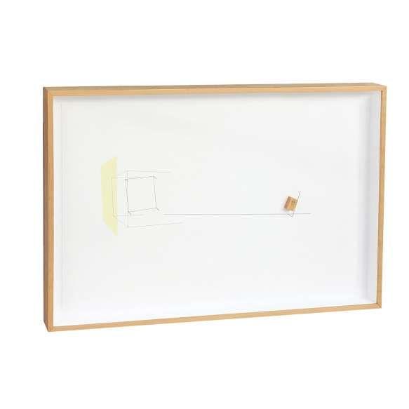 """""""Waltercio Caldas<br>Sem título<br>aço, aquarela, nanquim e papel<br>92 x 132 x 8,5 cm<br>assinada no verso<br>2010<br>Com etiqueta Gabinete de Arte Raquel Arnaud."""""""