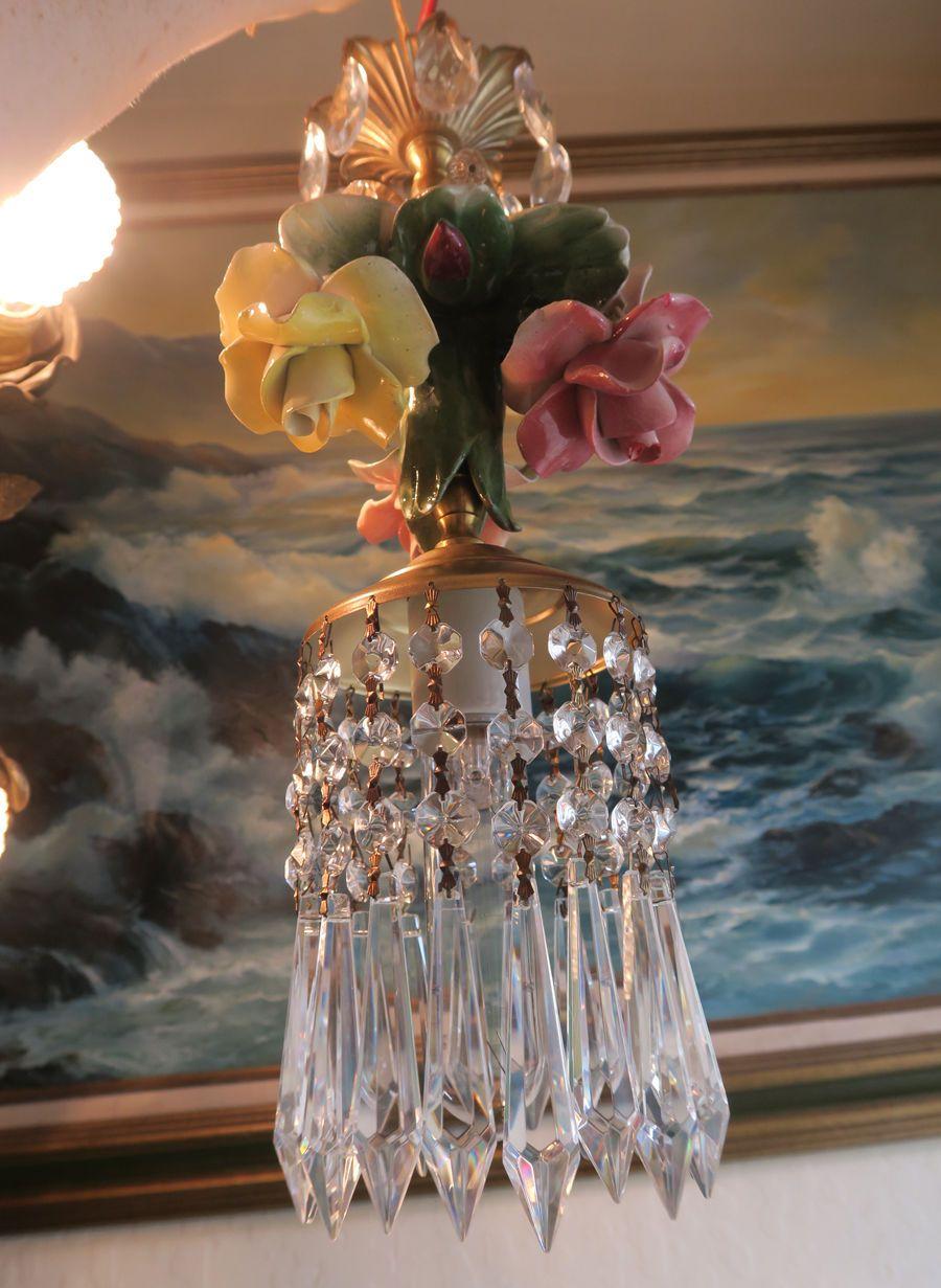 1of2 Porcelain Capodimonte Rose Brass tole chandelier Swag vintage lamp lighting | eBay