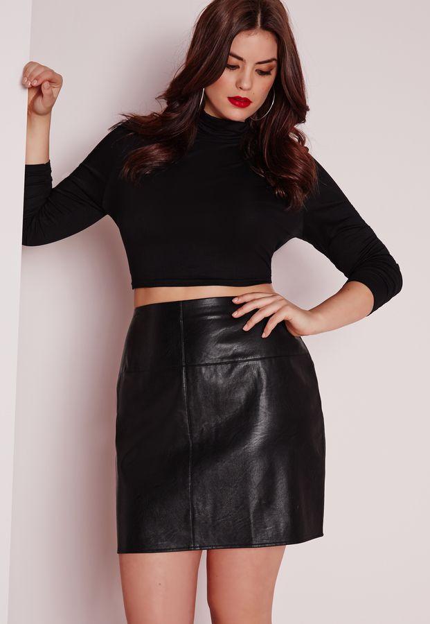64e76261fc7 Plus Size Faux Leather Mini Skirt Black