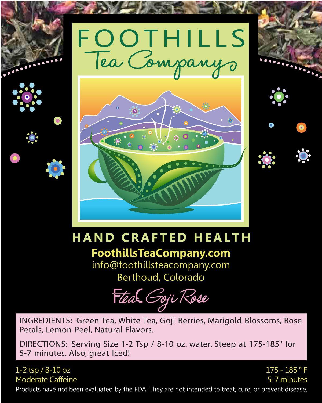 FteaC Goji Rose Tea blends, Lemon peel benefits, Natural