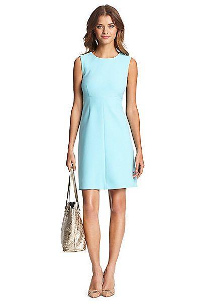 Dvf Carrie Ceramic A Line Dress In Azure Blue