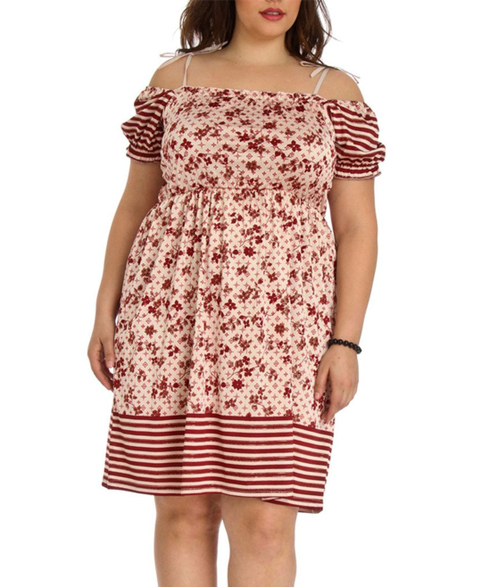 This Red Floral Empire-Waist Dress - Plus by Blue Plate is perfect! #zulilyfinds